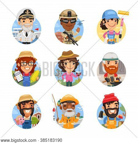 Set Of Avatars With People Of Different Professions. Ship Captain, Soldier, Painter, Agronomist, Gar