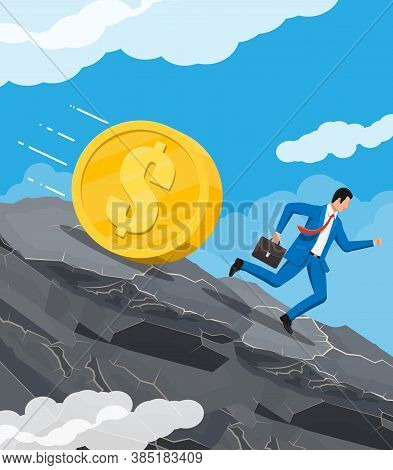 Businessman Running Away From Big Debt Golden Weight. Business Man With Briefcase And Dollar Coin. T