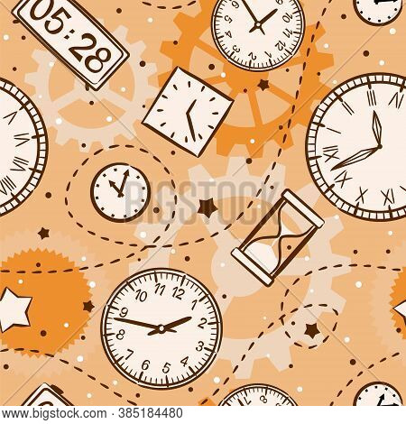 Seamless Kids Pattern Of Hand-drawn Watches. Round Clock In Retro Style, Electronic And Hourglass, G