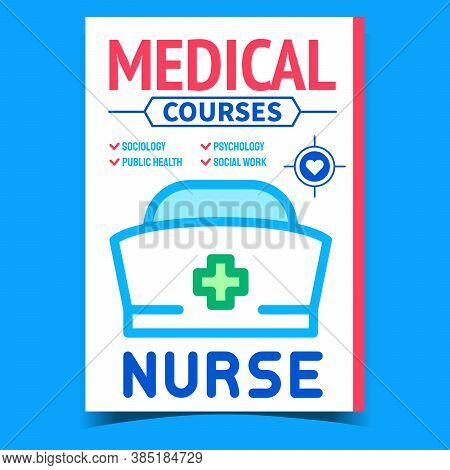 Medical Courses Creative Advertising Poster Vector. Sociology And Public Health, Psychology And Soci