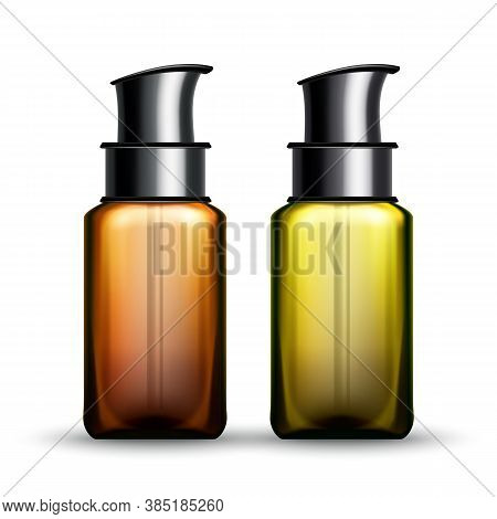 Sunscreen Lotion Package With Pump Set Vector. Sunscreen Blank Transparency Bottles For Tanning Sunb