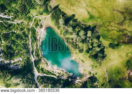 Märchensee At The Tauplitzalm. Aerial View Of An Idyllic Lake In The European Alps.