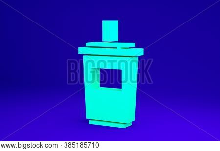 Green Paper Glass With Drinking Straw And Water Icon Isolated On Blue Background. Soda Drink Glass.