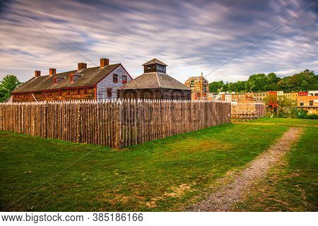 Augusta, Maine, USA at historic Fort Western in the morning.