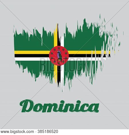 Brush Style Color Flag Of Dominica, A Green Field With Cross Of Yellow, Black And White, Sisserou Pa