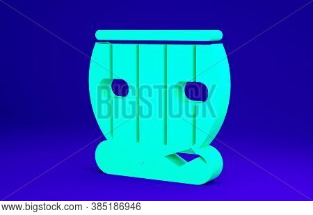 Green Indian Musical Instrument Tabla Icon Isolated On Blue Background. Minimalism Concept. 3d Illus