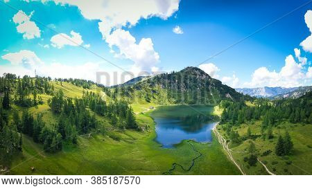 Tauplitz Alm. Lake Großsee And Lawinenstein. Famous Hiking And Skiing Resort In Styria During Summer