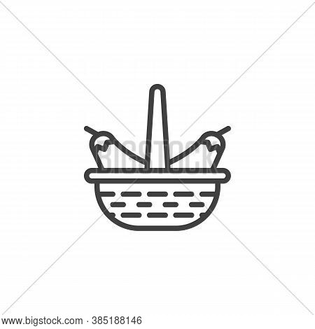 Eggplant Basket Line Icon. Linear Style Sign For Mobile Concept And Web Design. Wicker Basket With A