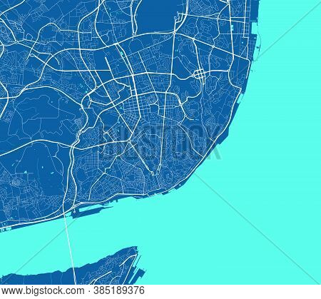 Detailed Map Of Lisboa City Administrative Area. Royalty Free Vector Illustration. Cityscape Panoram