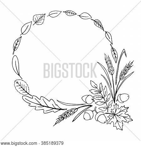 Wreath Of Autumn Leaves. Doodle Freehand Illustration. Round Frame. Black Outline On A White Backgro