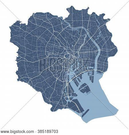 Tokyo Map. Detailed Vector Map Of Tokyo City Administrative Area. Cityscape Poster Metropolitan Aria