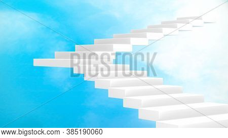 3d Rendering, White Staircase For Step Up To The Sky, Way To Heaven Or Paradise, Perspective View, R