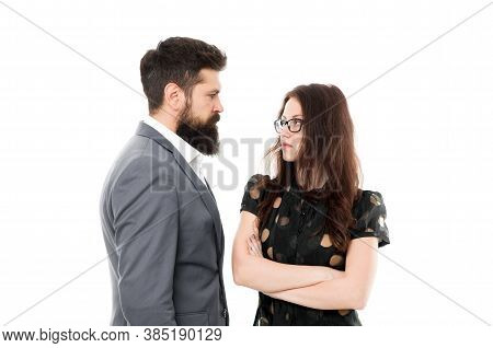 Man With Beard And Sexy Woman In Relations. Partnership And Relations. Businesspeople Relations. Bus