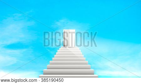 3d Rendering, Abstract White Stairway Go Up To The Door, Way To Heaven Or Paradise, Realistic Mock U