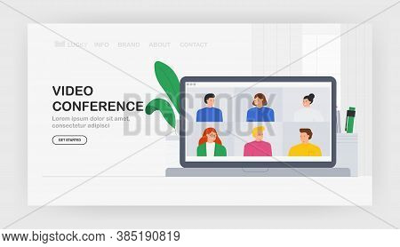 Vector Trendy Illustration Group Of People Friends Meeting Online Video Conference Call On Laptop Di