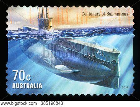Australia - Circa 2014: A Stamp Printed In Australia Shows The Centenary Of Submarines, Circa 2014.