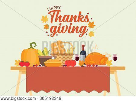 Thanksgiving Dinner Vector Illustration. Festive Holiday Dinner.