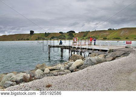 Kaikoura / New Zealand - 20 Dec 2018: Fisher In Kaikoura, New Zealand