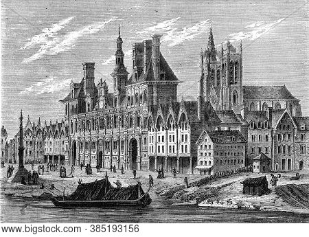 Paris city hall in the sixteenth century, Vintage engraving. From Popular France, 1869.