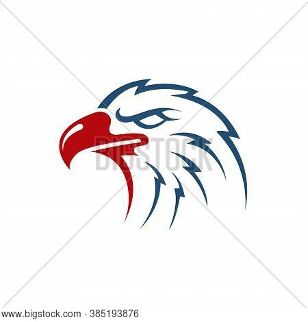 Eagle Head Vector Illustration. The Symbol For Eagle, Falcon, Or Hawk Bird. Good For American Themes