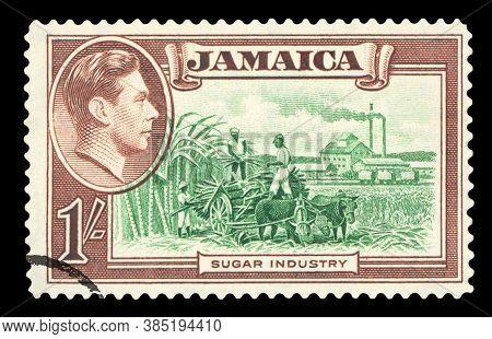 Postage Stamp - Jamaica Isolated On Black
