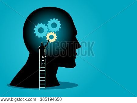 Business Concept Vector Illustration Of A Man On Ladder Installing Gears On Human Head, Thinking Pro