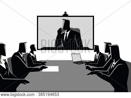 Business Concept Vector Illustration Of Business Men And Women Having Teleconference Meeting