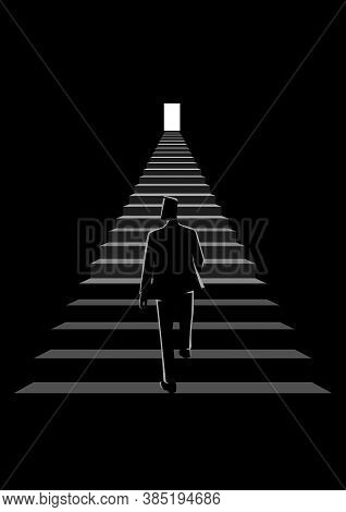 Business Concept Vector Illustration Of A Man Walking On A Stairway Leading Up To A Bright Door