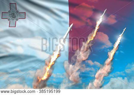 Malta Ballistic Warhead Launch - Modern Strategic Nuclear Rocket Weapons Concept On Blue Sky Backgro