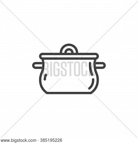 Cooking Pan Line Icon. Linear Style Sign For Mobile Concept And Web Design. Saucepan Casserole Outli