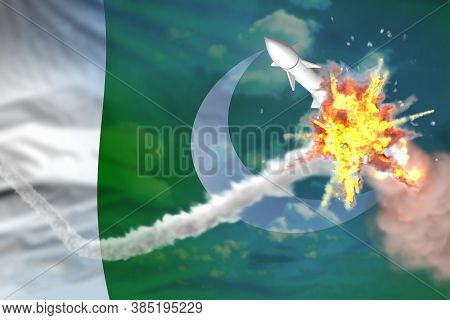 Pakistan Intercepted Supersonic Warhead, Modern Antirocket Destroys Enemy Missile Concept, Military