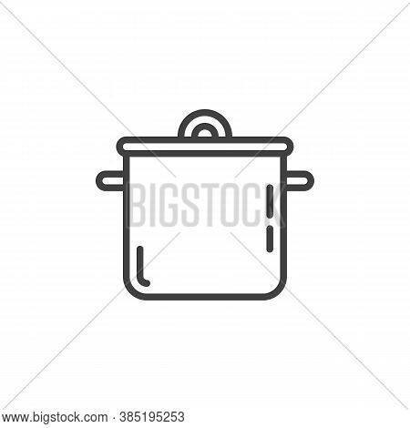 Saucepan Casserole Line Icon. Linear Style Sign For Mobile Concept And Web Design. Cooking Pan Outli