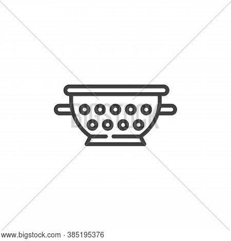 Colander Line Icon. Linear Style Sign For Mobile Concept And Web Design. Pasta Strainer Outline Vect