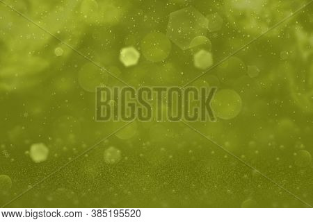 Yellow Cute Brilliant Abstract Background Glitter Lights And Falling Snow Flakes Fly Defocused Bokeh