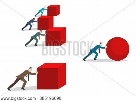 Business Concept Cartoon Illustration Of A Businessman Pushing A Sphere Leading The Race Against A G