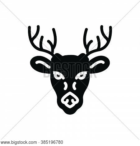 Black Solid Icon For Deer Animal Antler Forest Horn Hunting Wildlife Face