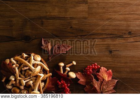 Autumn Background Frame. Red Leaves, Viburnum Berries And Fresh Mushrooms In Wooden Plate On Wooden