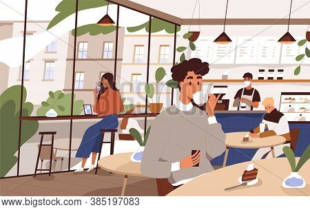 Scene Of Social Distancing At Cafeteria. People Relax At City Cafe. Characters Eat Dessert And Drink