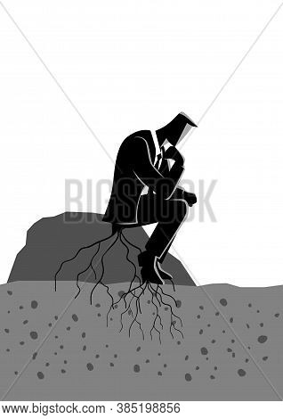 Business Concept Illustration Of A Pensive Businessman Sitting On A Rock And Rooted To The Ground. T