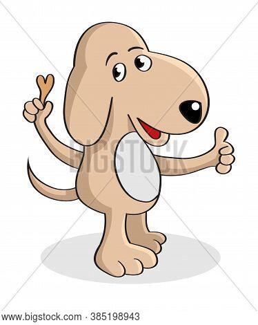 Vector Cartoon Illustration Of A Dog Holding A Dog Food