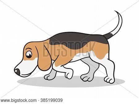 Vector Cartoon Illustration Of A Beagle Dog Sniffing