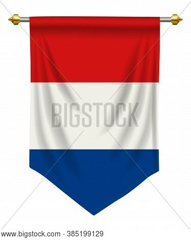 Netherlands Flag Or Pennant Isolated On White