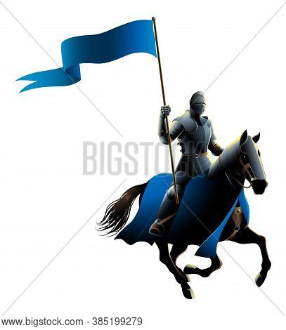 Vector Illustration Of A Midde Ages Knight On Horse Carrying A Flag