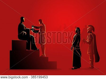 Biblical Vector Illustration Series. Way Of The Cross Or Stations Of The Cross, First Station, Pilat