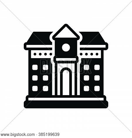 Black Solid Icon For School Seminary Building Primary University Academy Educational Institution Ins