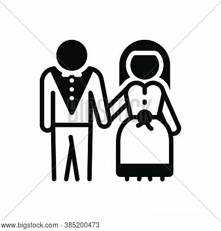 Black Solid Icon For Marry Make-a-match Wedding Pair-off Couple Dyad Wed Bride Groom Marriage
