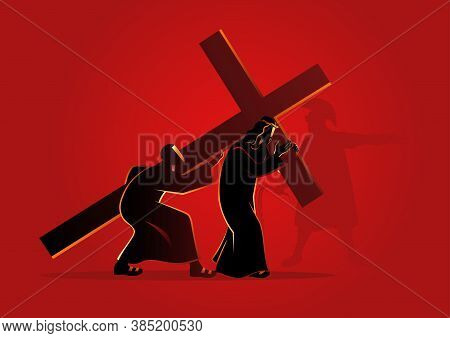 Biblical Vector Illustration Series. Way Of The Cross Or Stations Of The Cross, Fifth Station, Simon