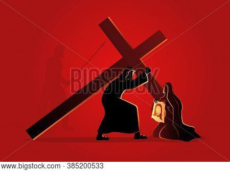 Biblical Vector Illustration Series. Way Of The Cross Or Stations Of The Cross, Sixth Station, Veron