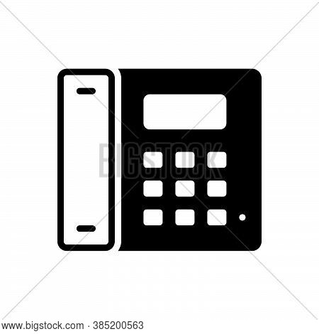 Black Solid Icon For Telephone Cellular Landline Gadget Device Communication Phone Call Talk Contact
