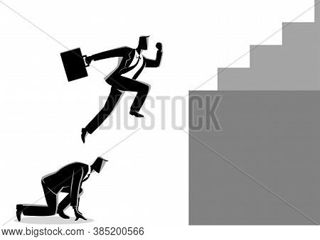 Business Concept Vector Illustration Of A Businessman Using His Friend As A Stepping Stone To Jump H